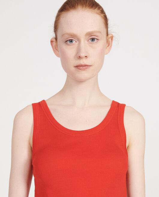Top mit feinem Rippstrick aus merzerisierter Baumwolle FIERY RED