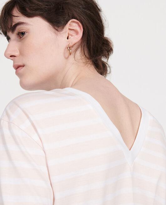 T-Shirt aus ägyptischer Baumwolle STRIPES PRIMROSE PINK OPTICAL WHITE