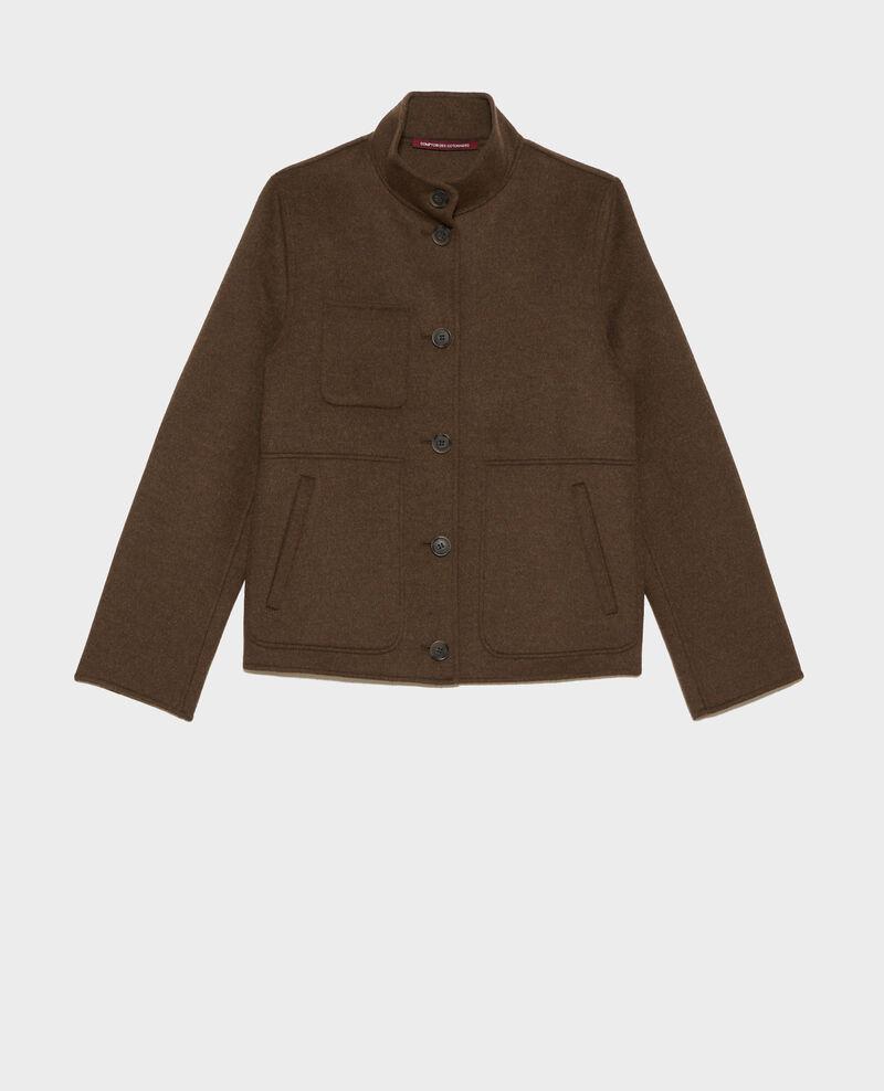 Kurze Jacke aus Wolle und Kaschmir Kaki Pauguio