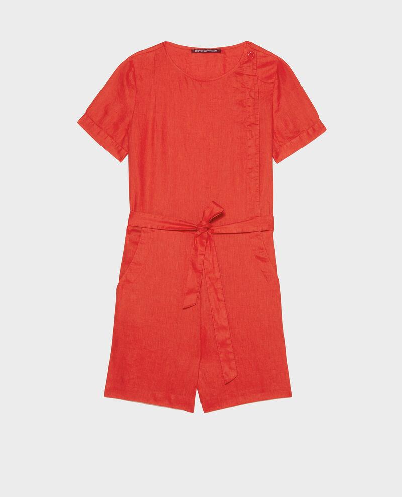 Kurzer Jumpsuit aus Leinen Fiery red Lariona