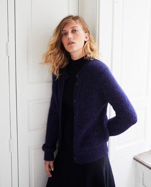 Cardigan mit schimmerndem Lurexgarn EVENING BLUE