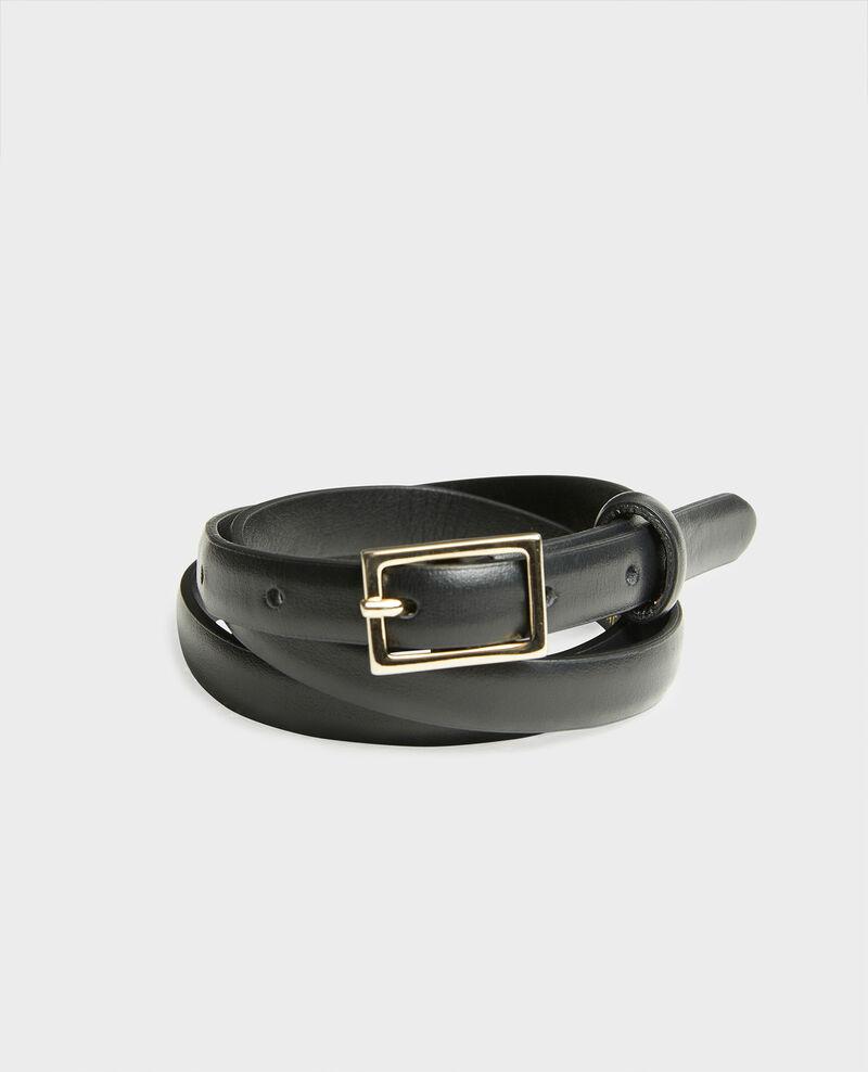 Schmaler Ledergürtel mit rechteckiger Schnalle Black beauty Meillard