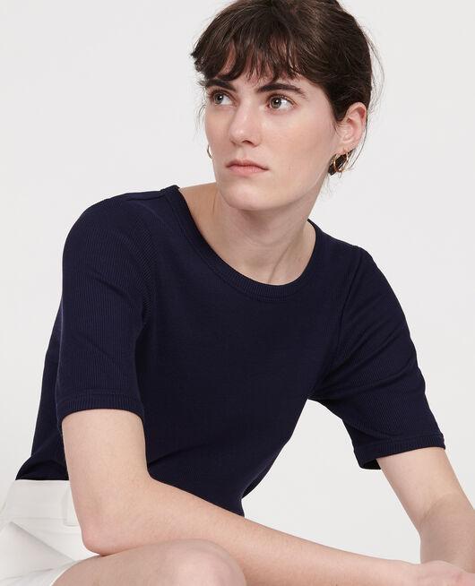 T-Shirt mit feinem Rippstrick aus merzerisierter Baumwolle MARITIME BLUE