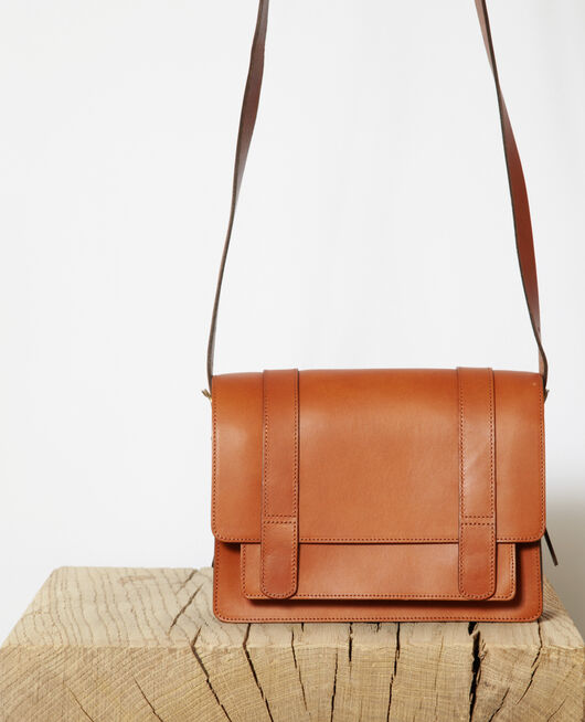 Tasche aus glattem Leder, kleines Modell Marron
