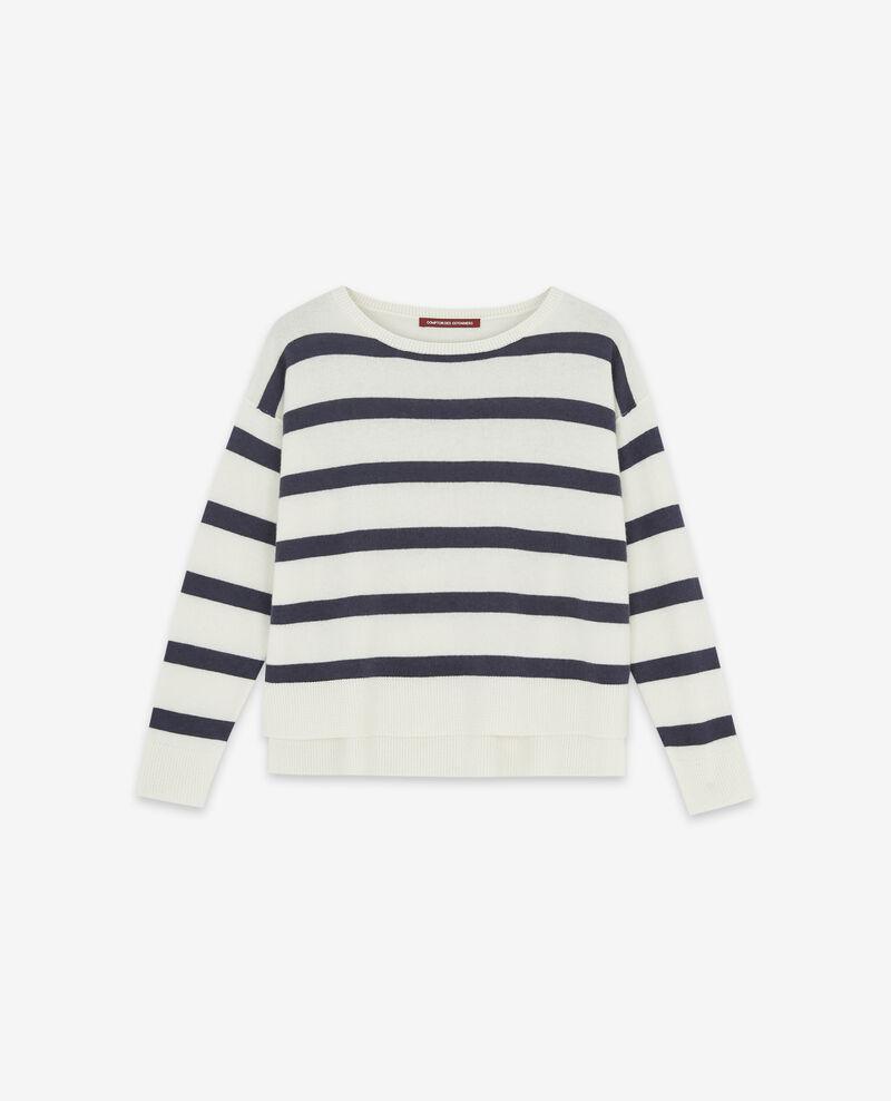 Reiner Kaschmir-Pullover mit Streifen Off white/navy Delamer