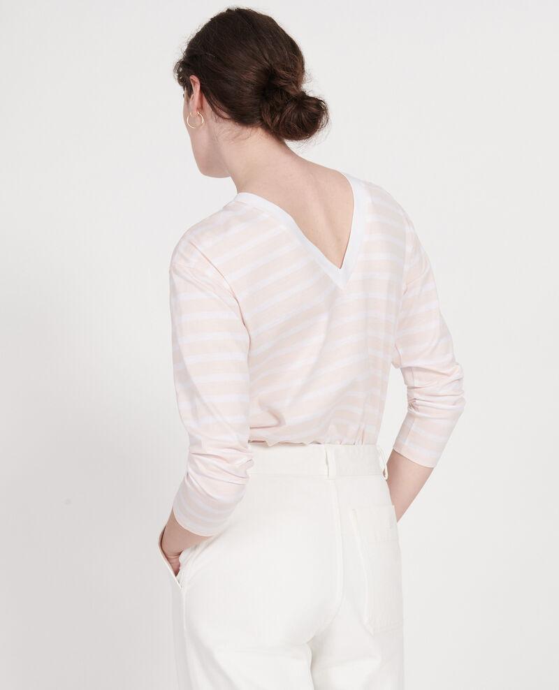 T-Shirt aus ägyptischer Baumwolle Stripes primrose pink optical white Lana