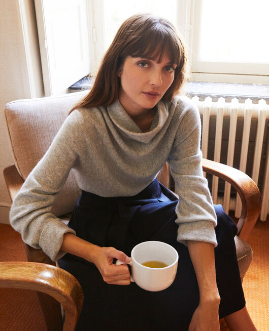 Pullover mit Stehkragen aus Kaschmir LIGHT GREY