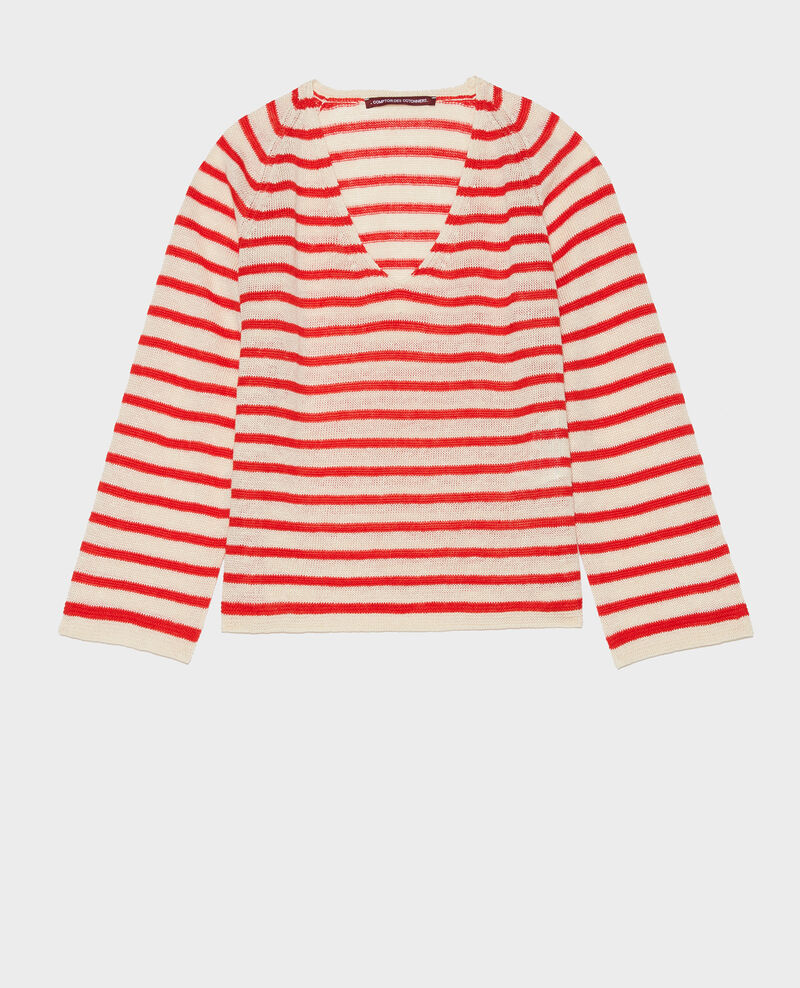 T-Shirt aus Leinen Stripes buttercream fiery red Logron