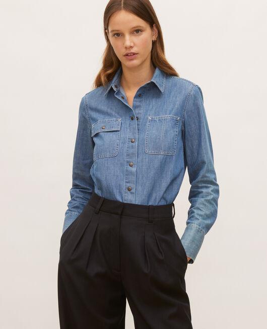 Jeanshemd mit asymmetrischen Taschen DENIM BLUE