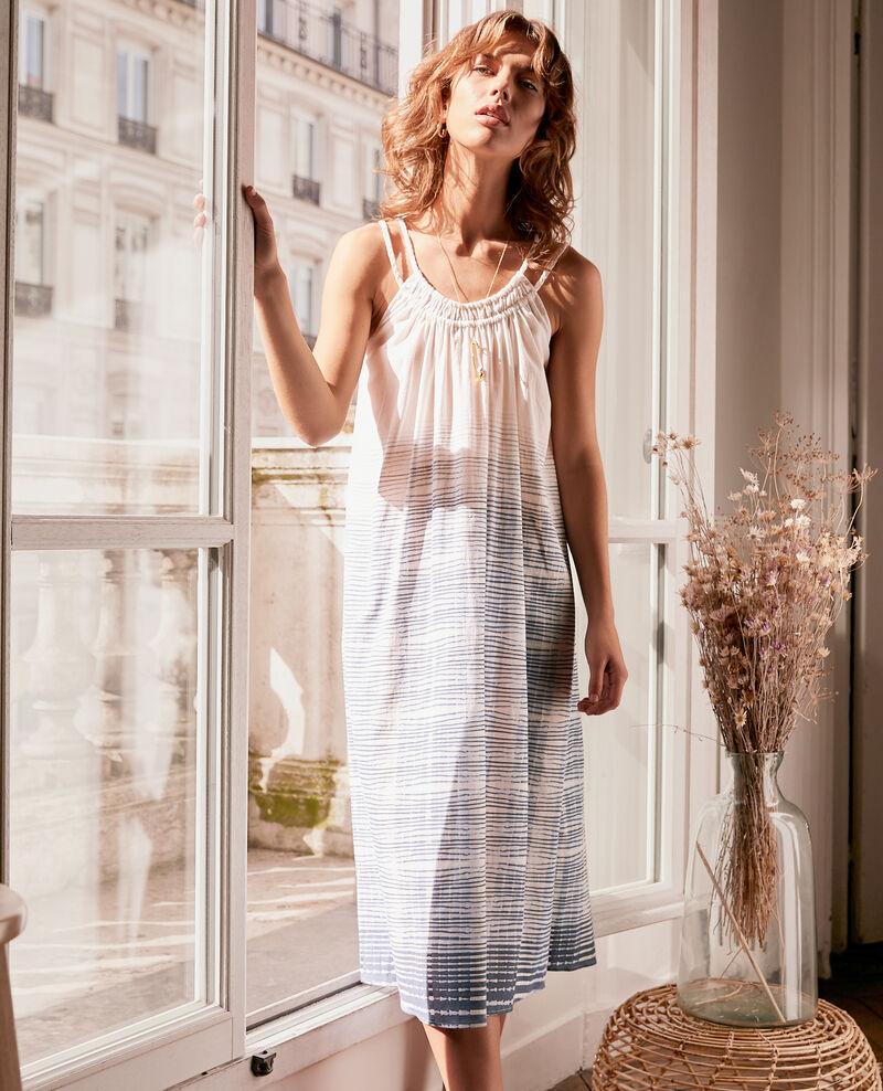 Kleid mit schmalen Trägern Tie&dye washed blue Fummer