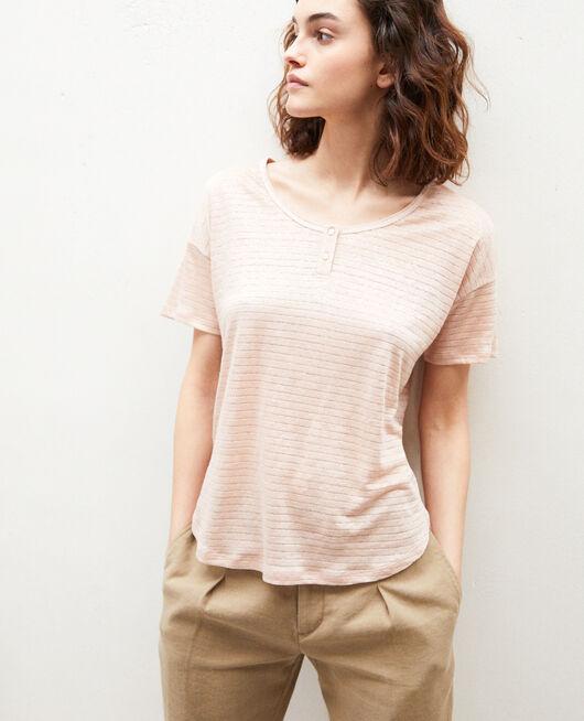 Glänzendes T-Shirt mit Leinen PINK BEIGE