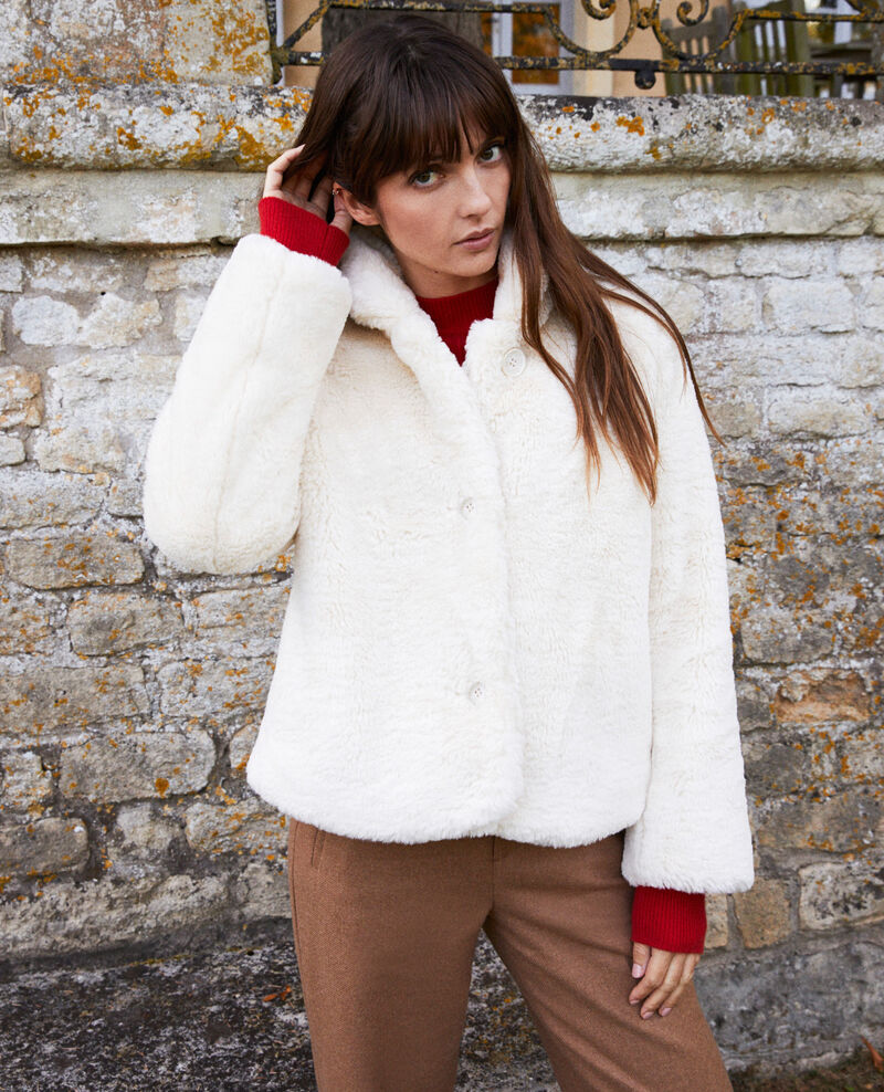 Kurzer Mantel aus Pelzimitat Off white Jakou