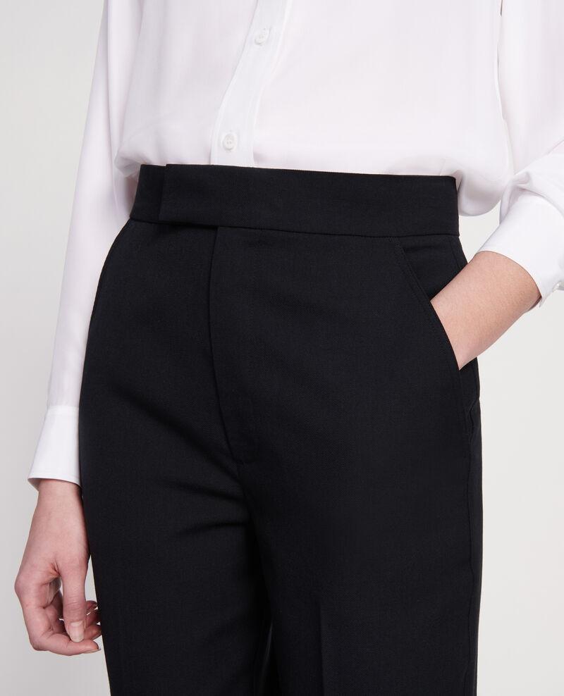Gerade Hose aus glatter Wolle Black beauty Lisabelle