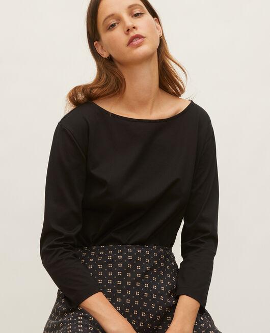Langärmeliges T-Shirt aus Baumwolle mit U-Boot-Ausschnitt BLACK BEAUTY