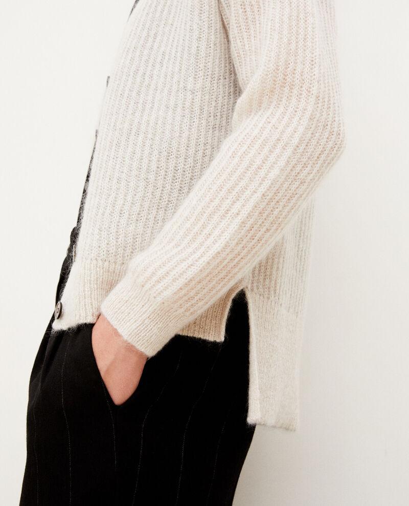 Cardigan mit Mohair Silver gray/off white/lurex Guirlande