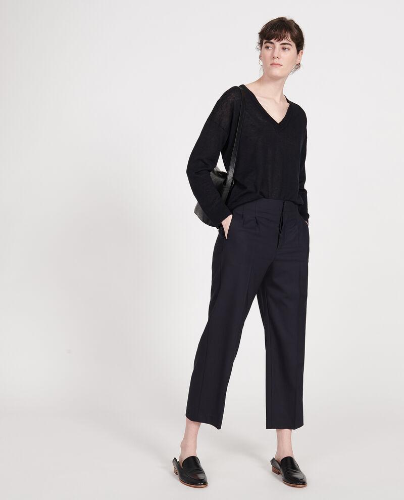 Pullover mit V-Ausschnitt aus Leinen und Baumwolle Black beauty Leonotis