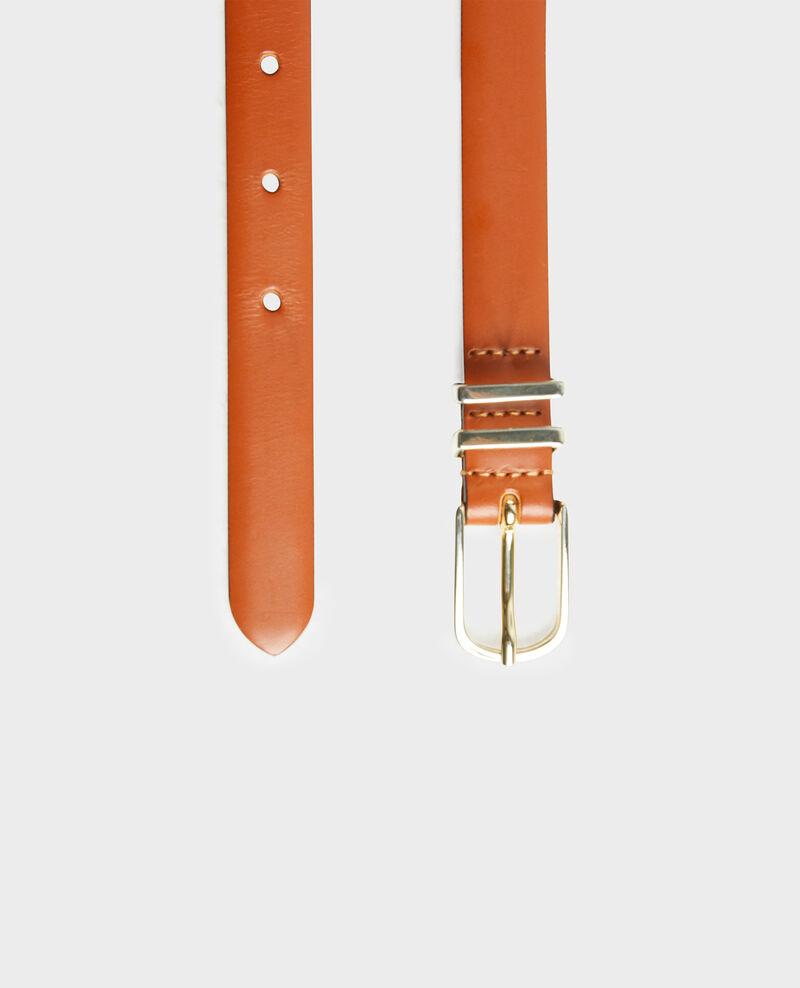 Ledergürtel mit Schnalle und Schlaufen aus vergoldetem Metall Brandy brown Mendite