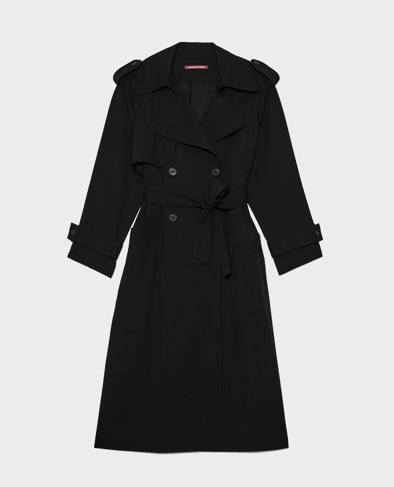 Oversize-Trenchcoat aus fließender Wolle Black beauty Laiko