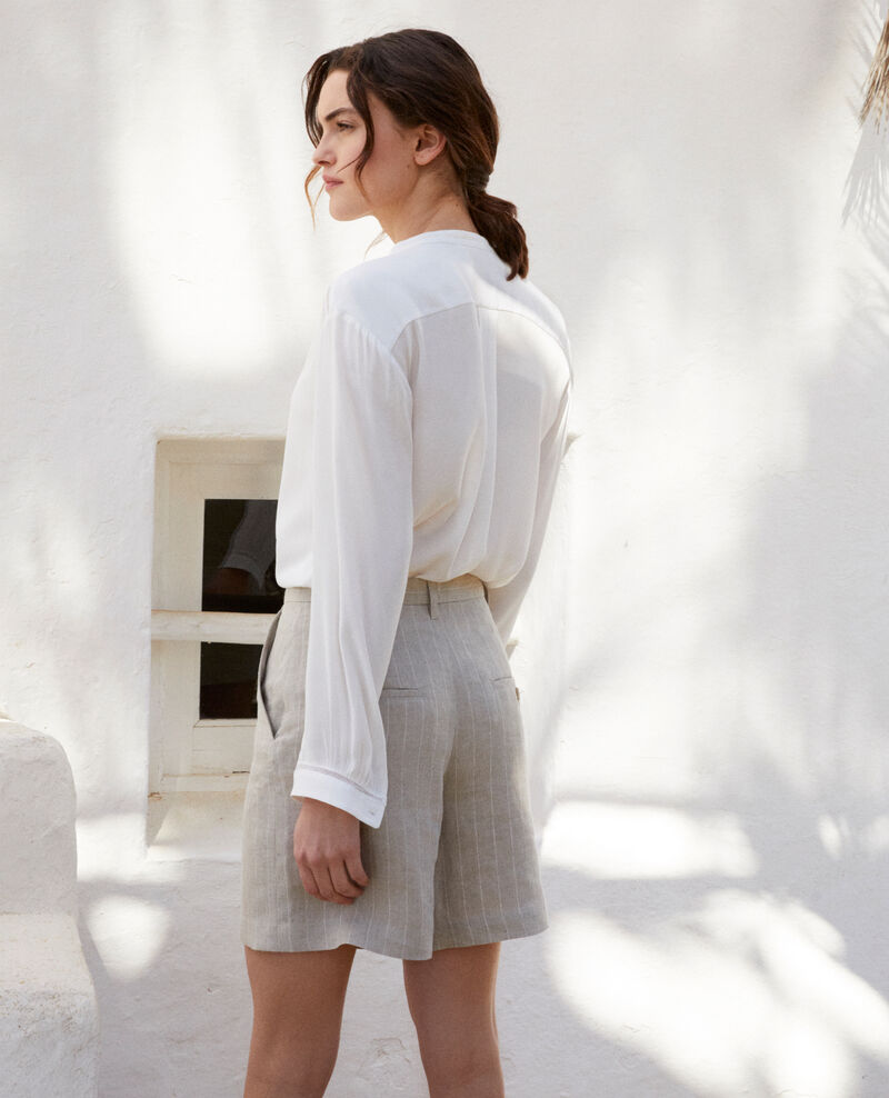 Shorts aus Leinen Natural linen/off white Icloude
