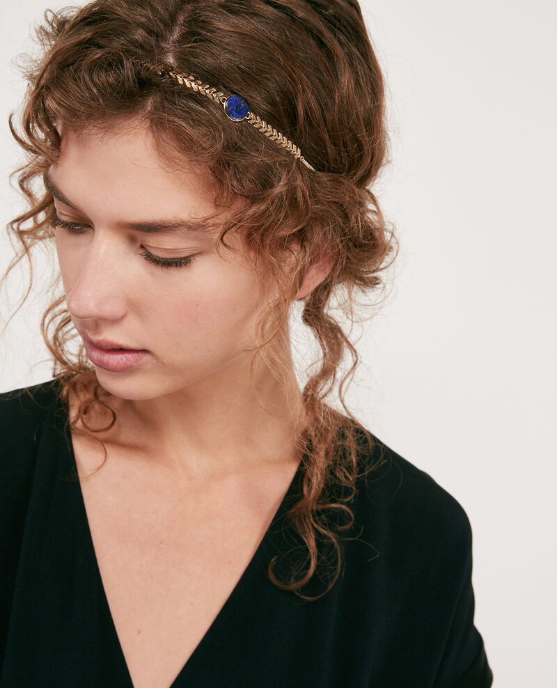 Headband mit rundem Anhänger aus Lapis Lazuli Gold/sapphire Dheadband