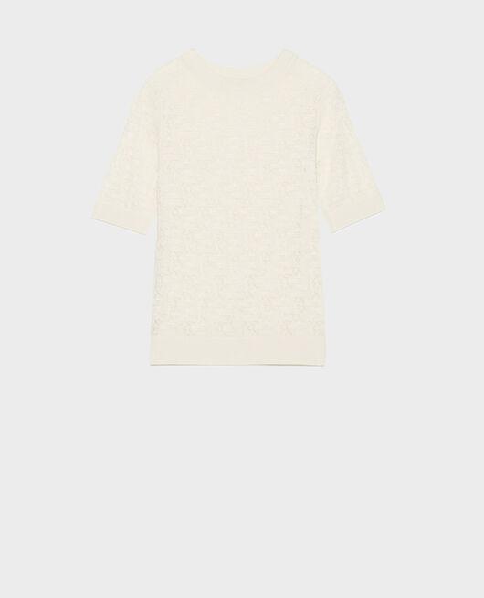 T-Shirt mit Pointelle-Muster BUTTERCREAM
