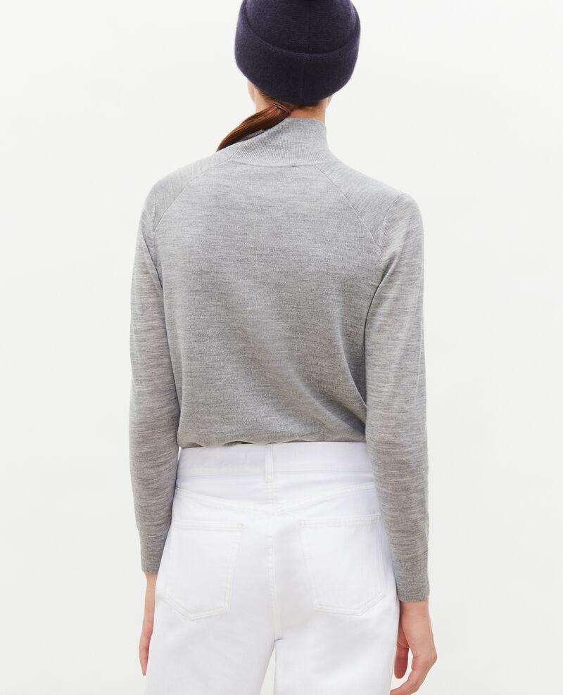 Pullover aus Merinowolle mit Stehkragen Light grey melange Malleville