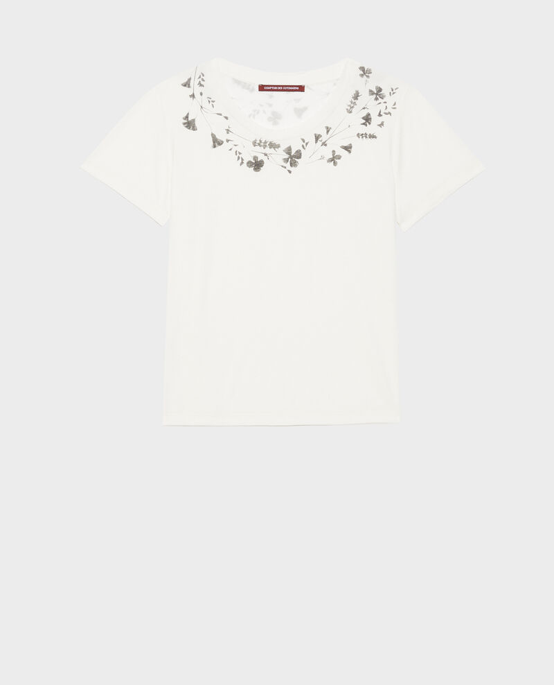 Fließendes T-Shirt mit Rundhalsausschnitt Cloud dancer Preaux