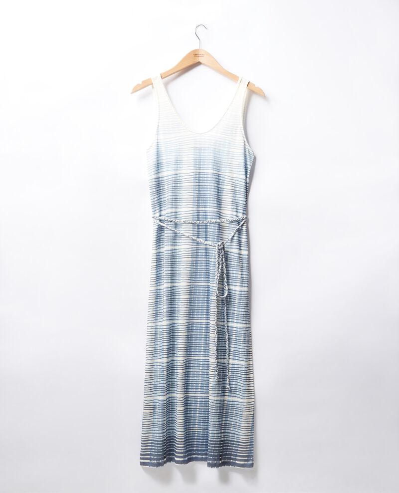 Halblanges Kleid aus Leinen Tie&dye washed blue Fieto
