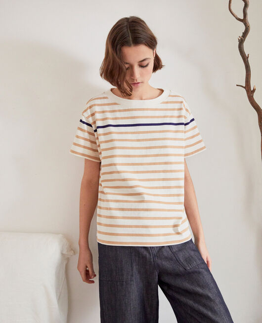 Matrosen-T-Shirt OW/CAMEL/NAVY