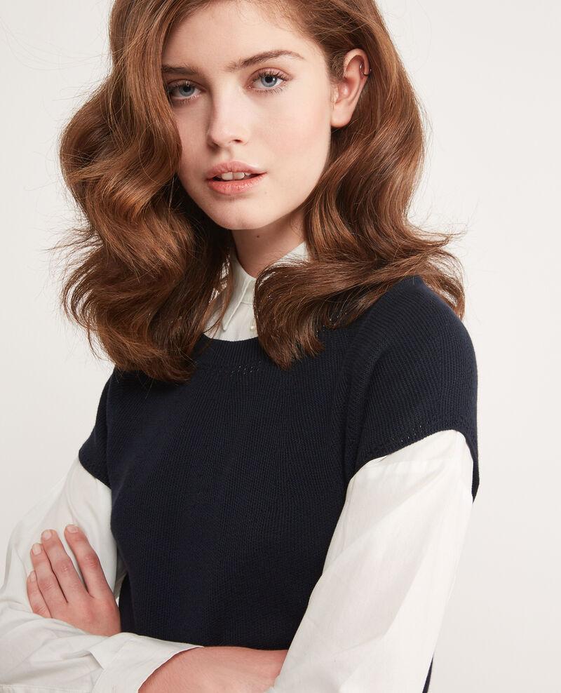 Kurzärmliger Pullover ohne Nähte Navy Dalande
