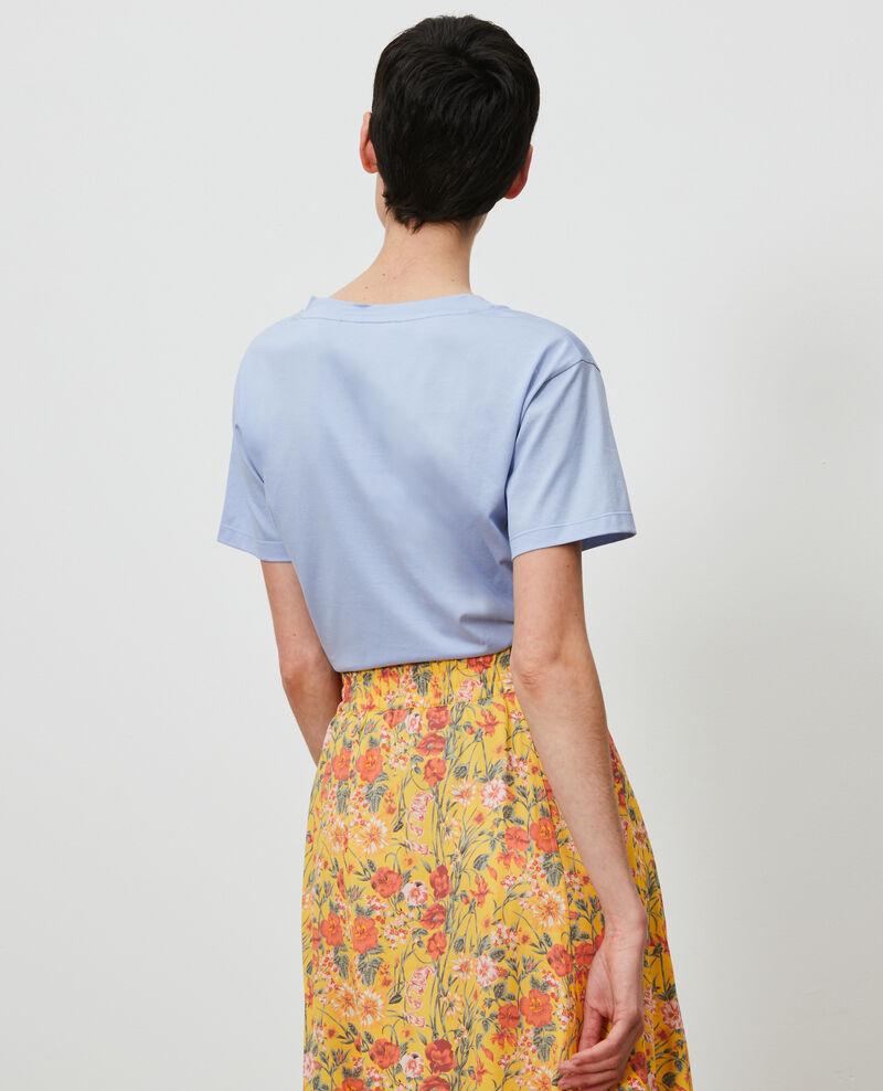 Besticktes T-Shirt aus Baumwolle Blue heron Nagaoka