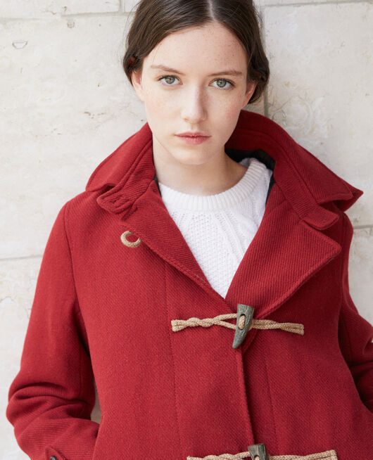 Kurzer Mantel im Dufflecoat-Stil Rot
