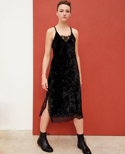 Kleid aus Samt und Spitze Schwarz