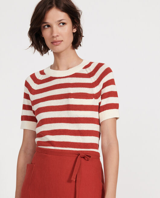 Pullover aus Baumwolle und Leinen STRIPES KETCHUP BUTTERCREAM