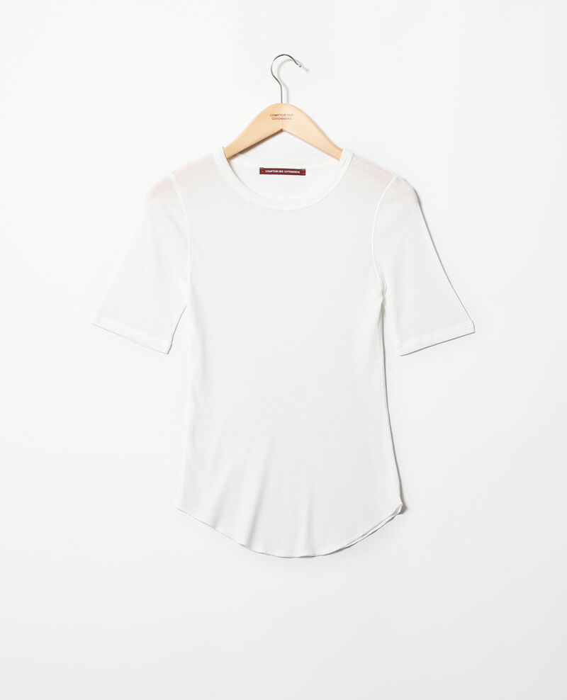 Rippstrick-T-Shirt  Off white Ibabie