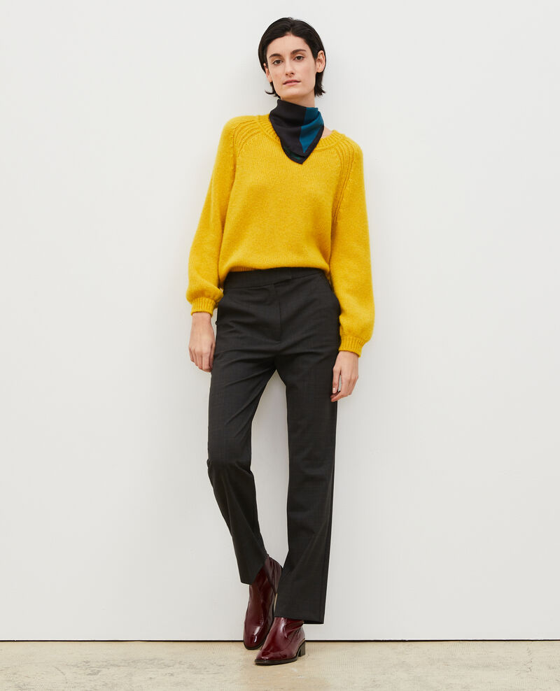 Hose MARCELLE, gerade Hose aus Prince of Wales-Wolle Check-wool-pattern-tailoring Misabien