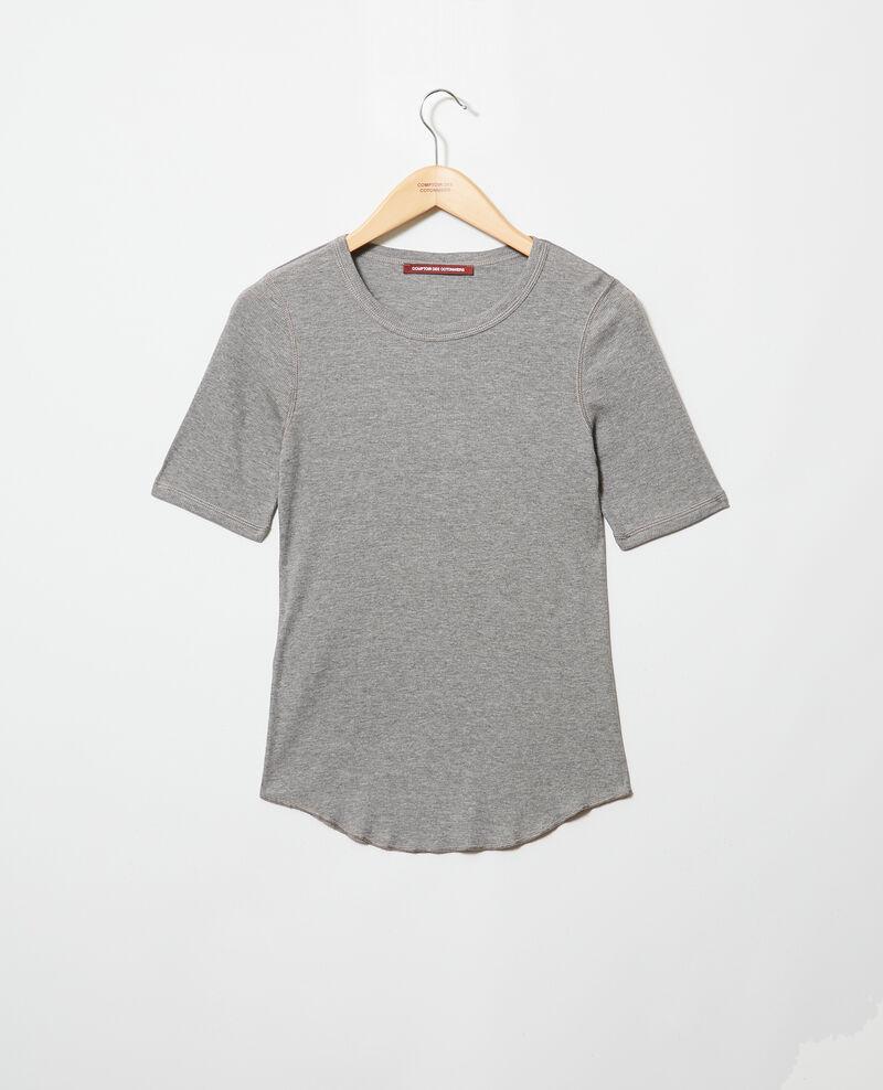 Rippstrick-T-Shirt  Heather grey Ibabie