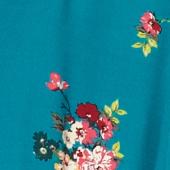 Bluse mit Pyjamakragen Fleurs pacific green Fashiona