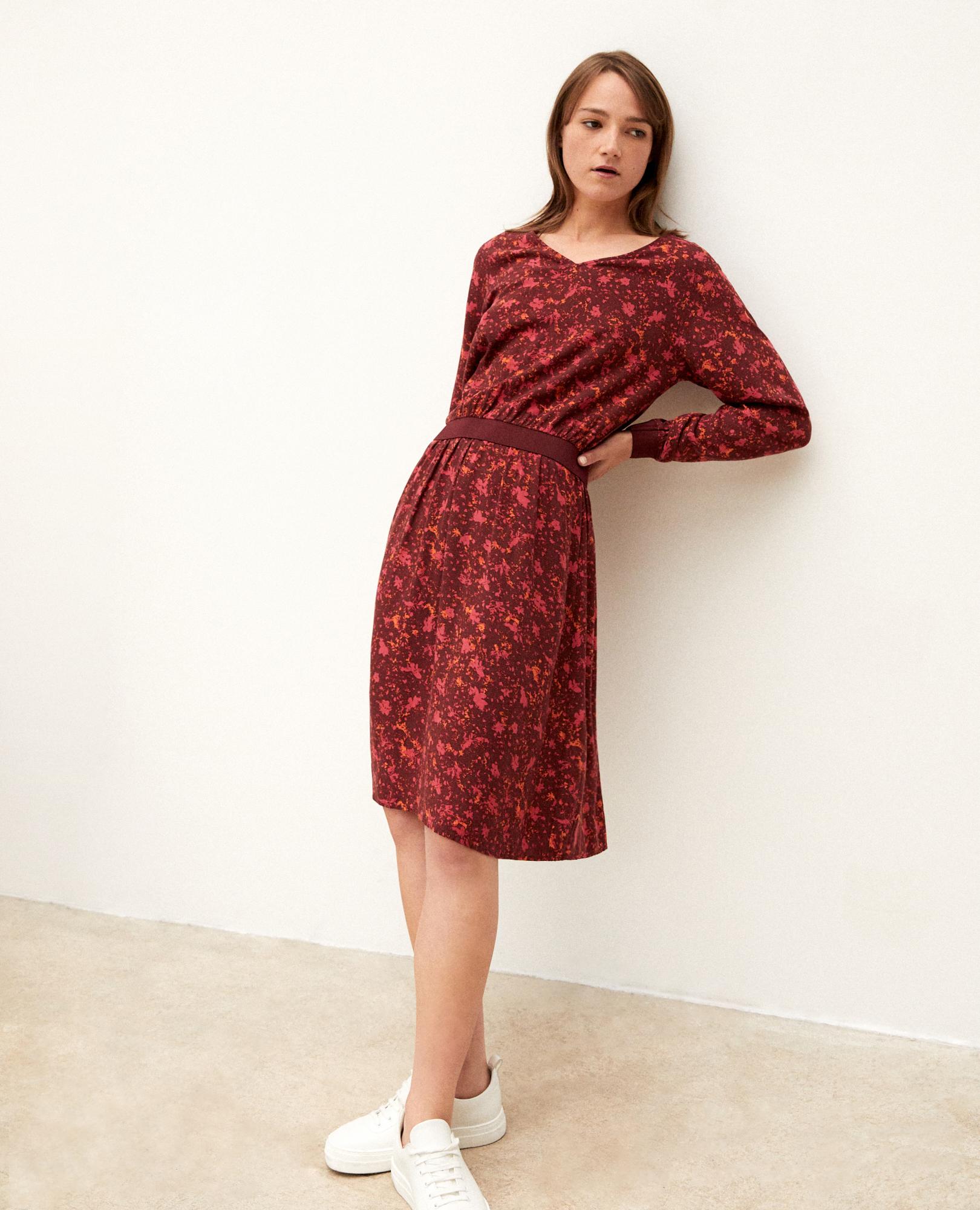 gapricorne long sleeves printed dress in viscose